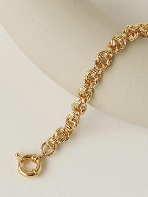 TINGS Brass Imitation Pearl Geometric Vintage Link Bracelet 2