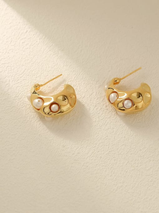 18K Gold Brass Imitation Pearl Geometric Vintage Stud Earring
