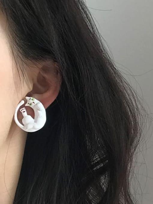 Five Color Alloy White Enamel Cat Cute Stud Earring 1
