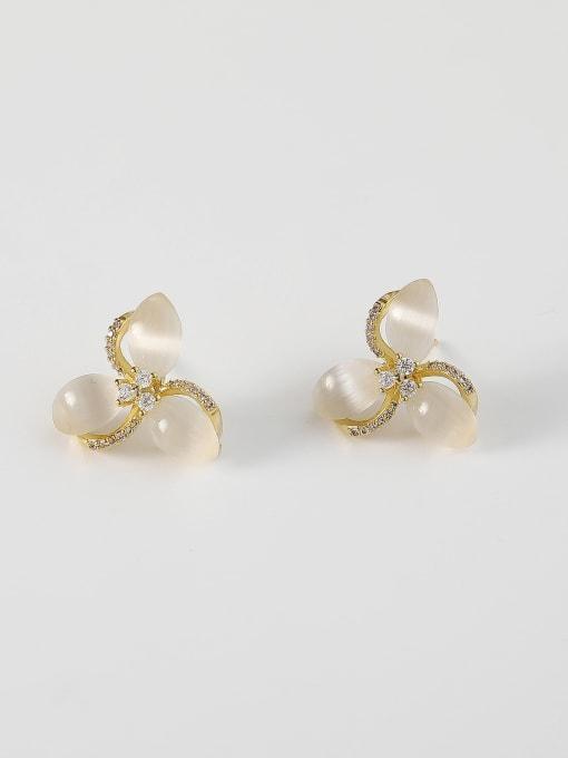HYACINTH Brass Cats Eye Flower Minimalist Stud Earring 0