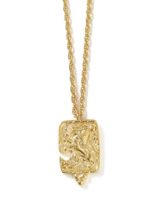 square Brass Lion Vintage round pendant Necklace