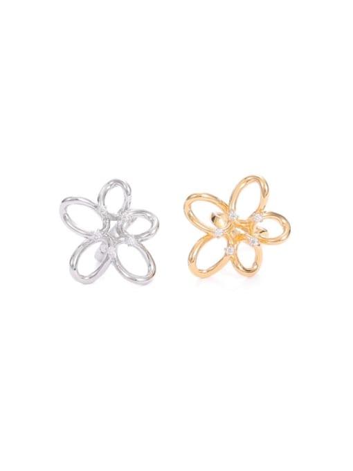 Five Color Brass Cubic Zirconia Flower Minimalist Stud Earring