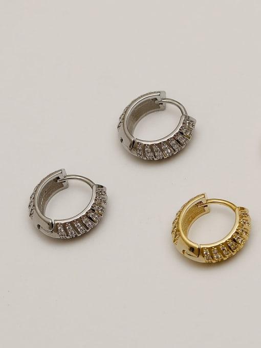 HYACINTH Brass Cubic Zirconia Geometric Vintage Huggie Earring 3