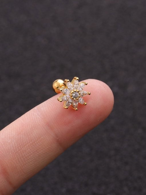 HISON Brass Cubic Zirconia Flower Cute  Stud Earring(single)