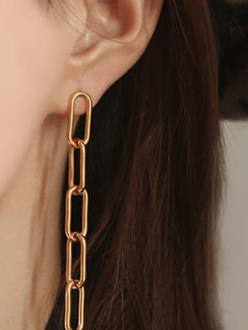 ACCA Brass Hollow Geometric Chain Vintage Drop Earring 1