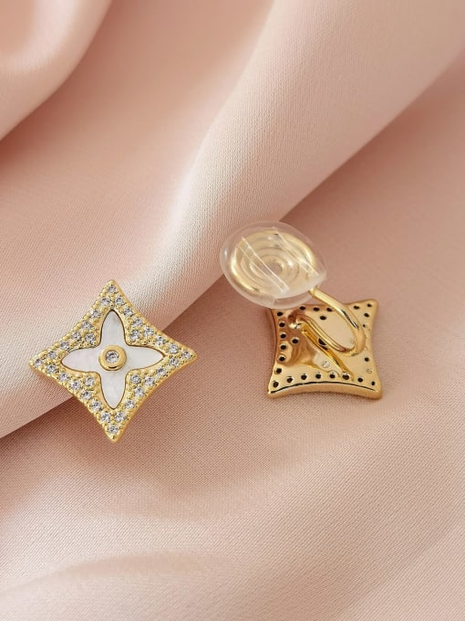 16K gold Brass Cubic Zirconia Geometric Minimalist Stud Earring