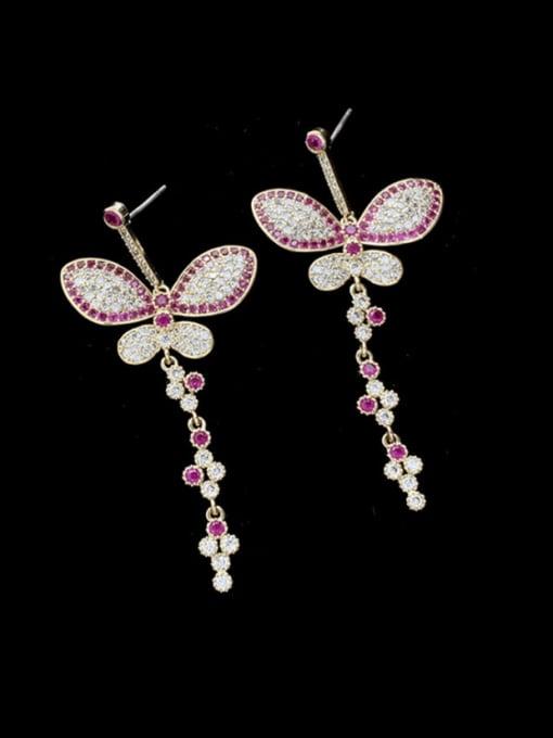 SUUTO Brass Cubic Zirconia Butterfly Statement Drop Earring