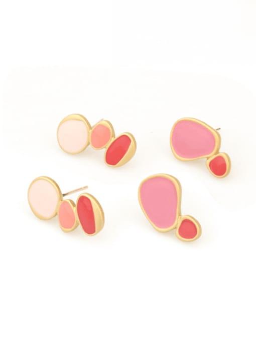 Five Color Alloy Enamel Geometric Cute Single Earring 0