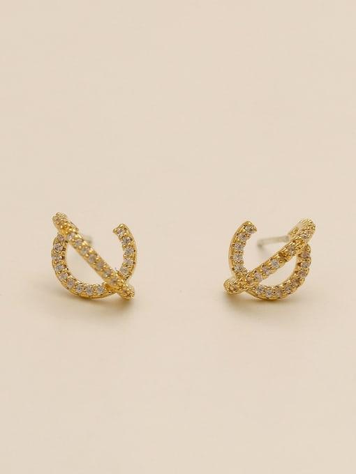 HYACINTH Brass Cubic Zirconia Irregular Minimalist Stud Earring 3
