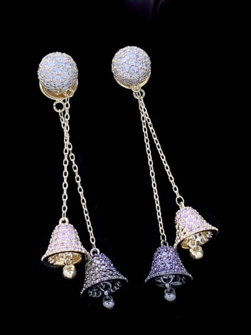 SUUTO Brass Cubic Zirconia Bell Luxury Threader Earring 2