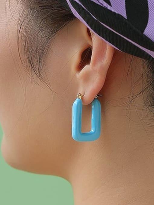 Five Color Brass Enamel Geometric Minimalist Stud Earring 2