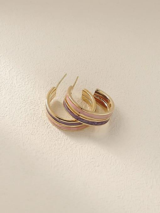 Light pink+ light purple Brass Enamel Geometric Vintage Stud Earring