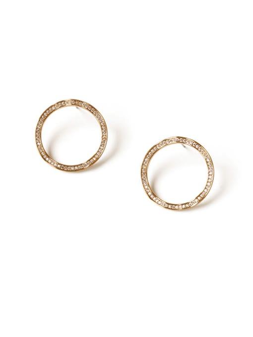 ACCA Brass  Hollow Round Minimalist Stud Earring