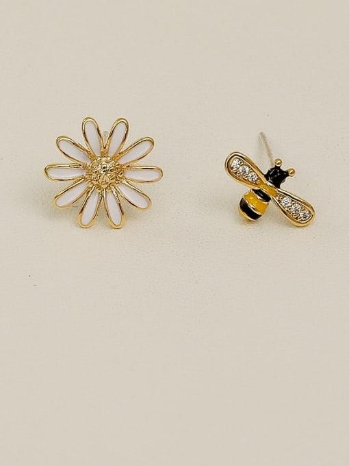 HYACINTH Copper Rhinestone Enamel Cute chrysanthemum Bee asymmetric Stud Earring 1