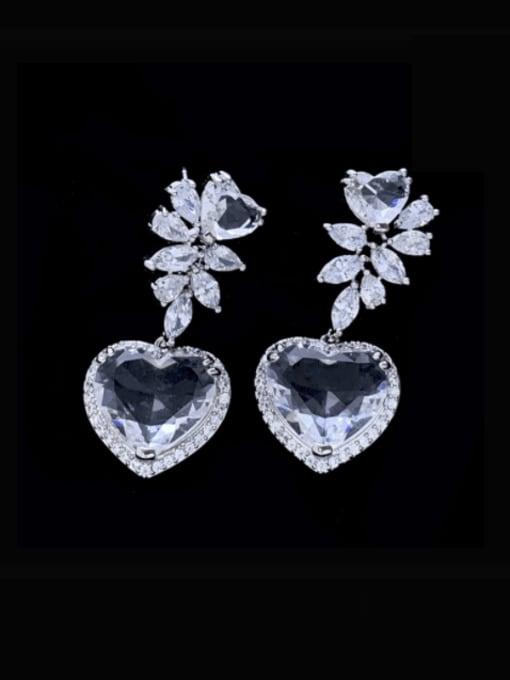 SUUTO Brass Cubic Zirconia Heart Luxury Drop Earring 0