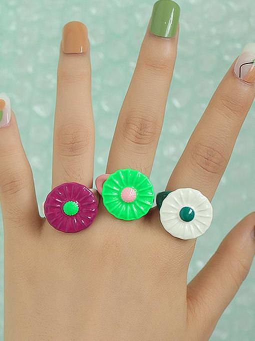 Five Color Zinc Alloy Enamel Flower Minimalist Band Ring 1