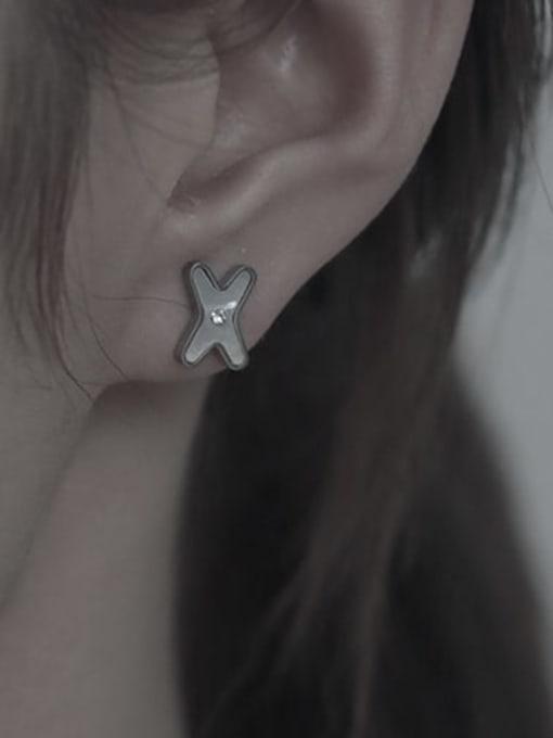 TINGS Brass Shell Cross Minimalist Stud Earring