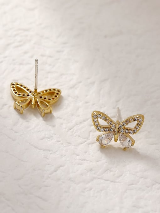 HYACINTH Brass Cubic Zirconia Butterfly Vintage Stud Trend Korean Fashion Earring 3