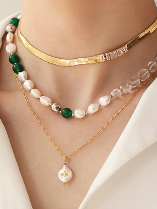 TINGS Brass Imitation Pearl Geometric Minimalist Natural stone Necklace 2
