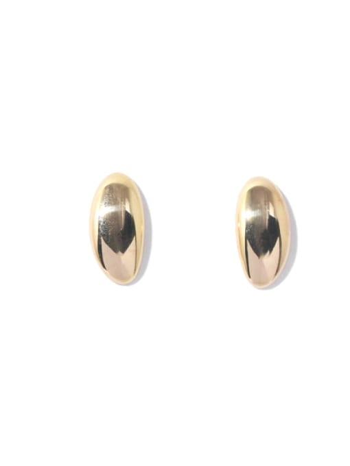 Oval Gold Brass Smooth Irregular Minimalist Stud Earring