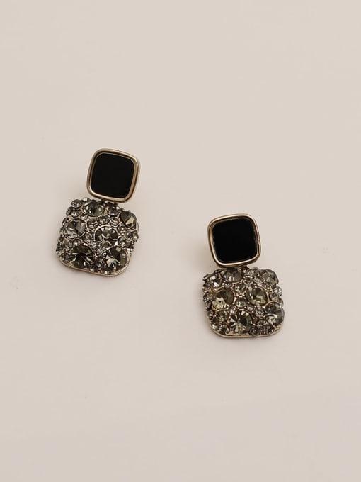 HYACINTH Brass Cubic Zirconia Geometric Vintage Drop Earring 4