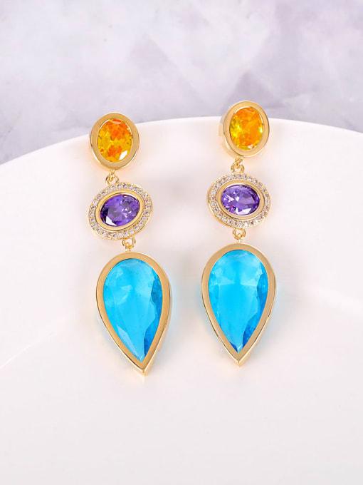 OUOU Brass Cubic Zirconia Multi Color Water Drop Luxury Drop Earring 3
