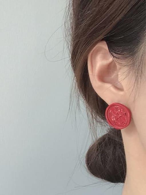 Five Color Alloy Enamel  Round Star Cute Stud Earring 1