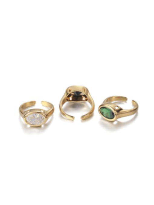 Five Color Brass Glass Stone Geometric Vintage Band Ring 0