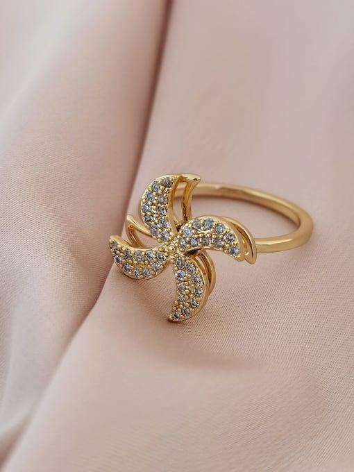 14k gold Brass Cubic Zirconia Flower Minimalist Band Ring