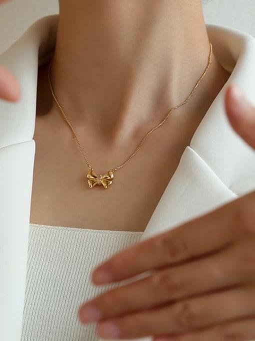 Five Color Brass Bowknot Minimalist  Pendant Necklace 1