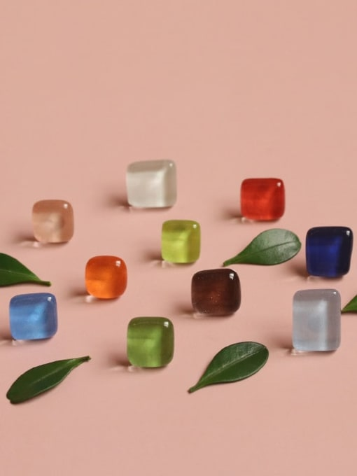 Five Color Alloy Glass Stone Enamel Geometric Minimalist Stud Earring