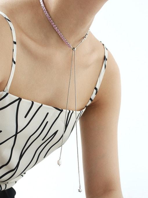 TINGS Brass Cubic Zirconia Geometric Vintage Lariat Necklace 2