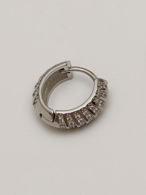 White K Brass Cubic Zirconia Geometric Vintage Huggie Earring