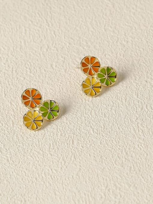 14K golden orange green Brass Enamel Geometric Vintage Stud Earring