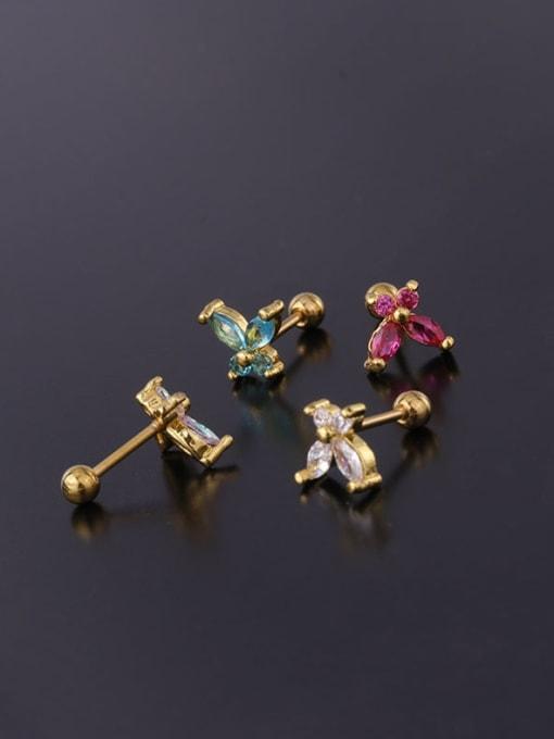 HISON Brass Cubic Zirconia Butterfly Cute Stud Earring 2