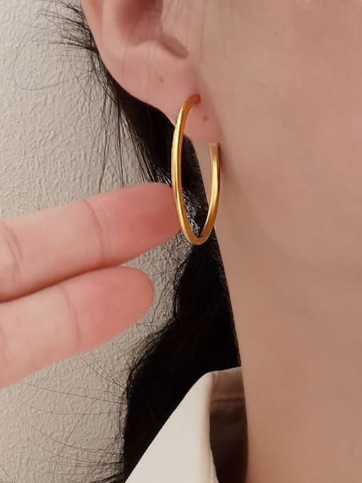 HYACINTH Brass Geometric Minimalist Hoop Earring 1