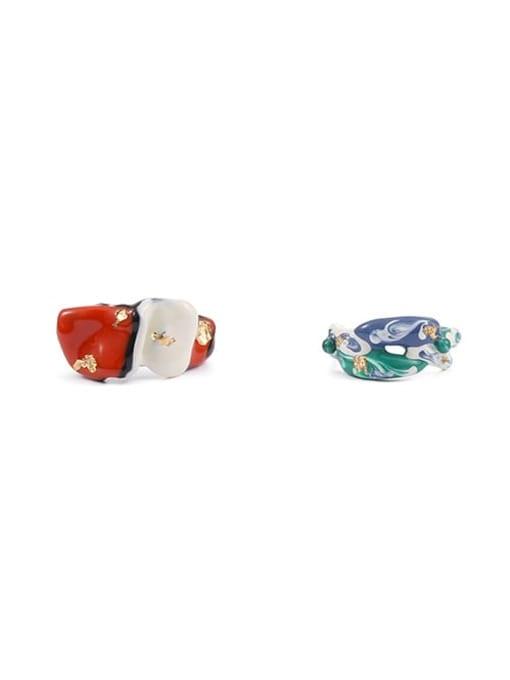 Five Color Zinc Alloy Enamel Irregular Minimalist Band Ring 3