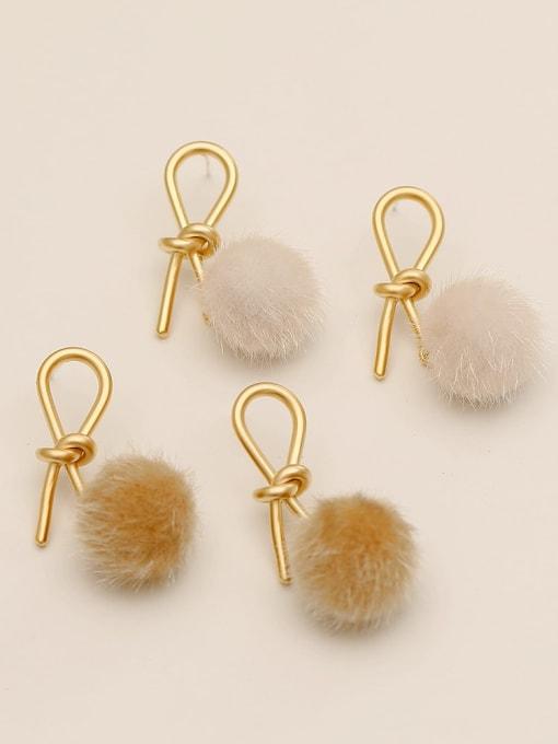 HYACINTH Brass Plush Ball Ethnic knot Drop Earring 2