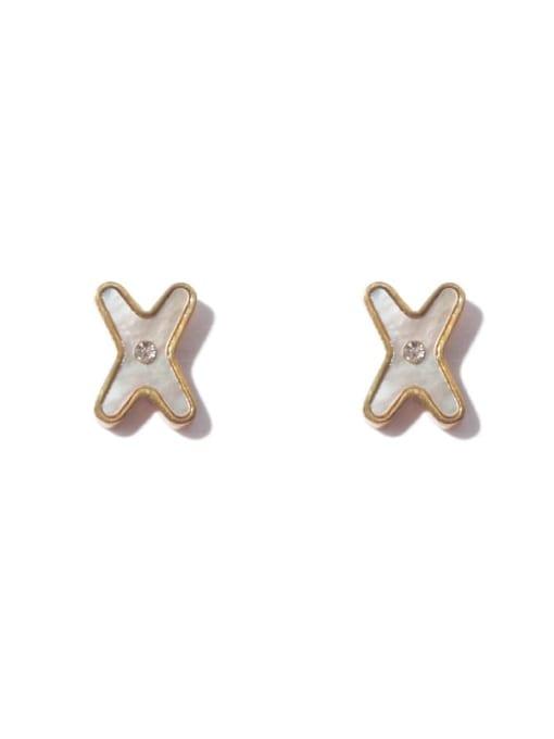 golden Brass Shell Cross Minimalist Stud Earring