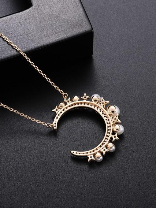 YILLIN Brass Imitation Pearl Moon Minimalist Necklace 2