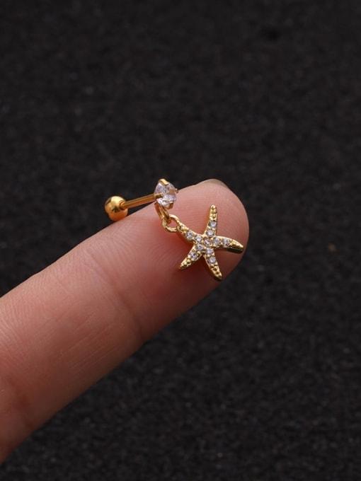 Gold 6#(Single) Brass Cubic Zirconia Geometric Cute Stud Earring