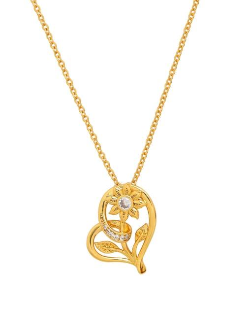 HYACINTH Brass Rhinestone Heart Vintage Necklace