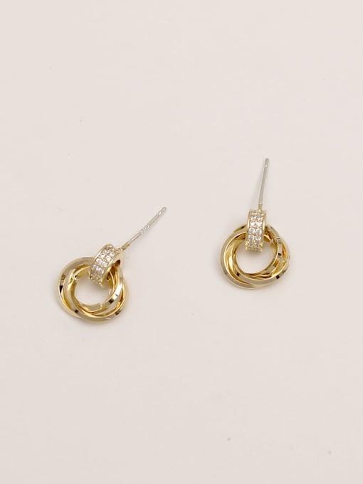 HYACINTH Brass Rhinestone Geometric Vintage Stud Earring 2