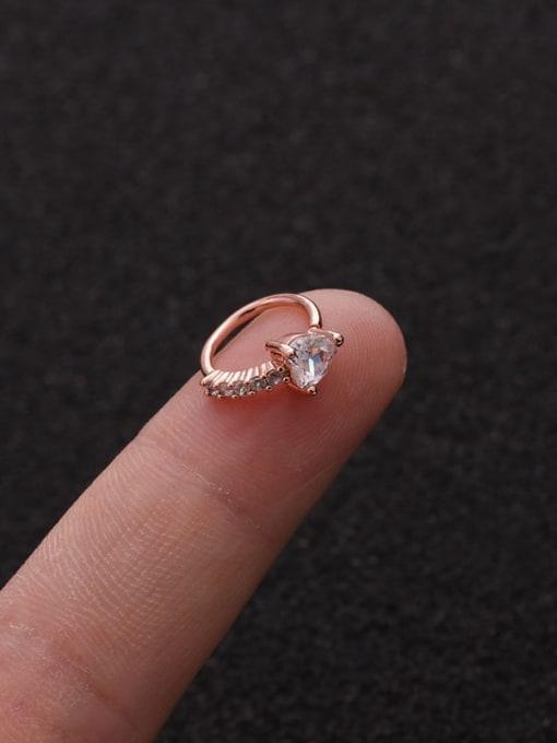 Rose Gold Heart(Single) Brass Cubic Zirconia Heart Cute Huggie Earring
