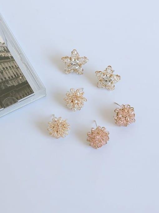 Five Color Brass Cubic Zirconia Star Minimalist Stud Earring 0