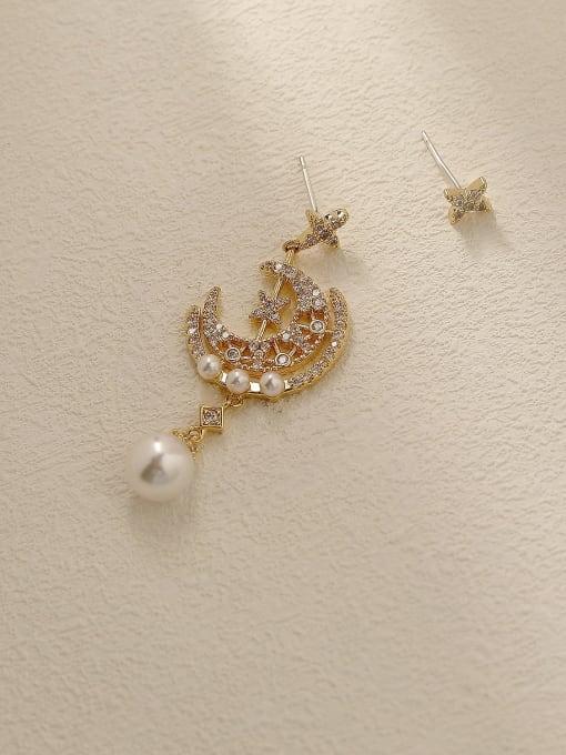 HYACINTH Brass Cubic Zirconia Asymmetry Moon Vintage Drop Trend Korean Fashion Earring 3