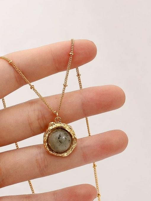 HYACINTH Brass Glass Stone Geometric Vintage Necklace 0