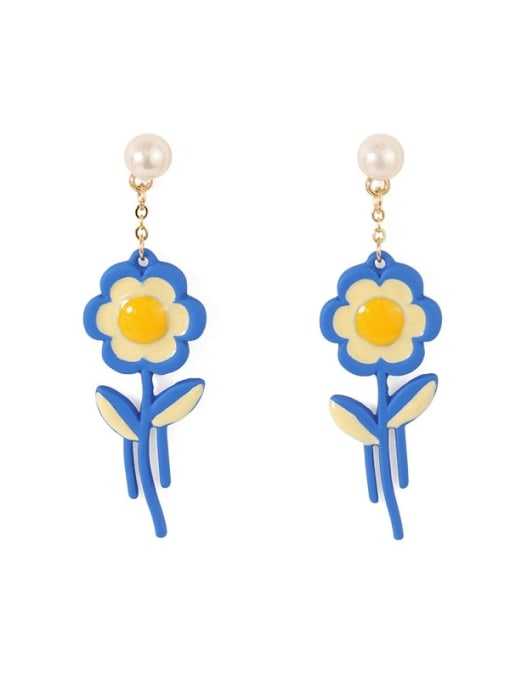 Five Color Alloy Enamel Flower Cute Stud Earring