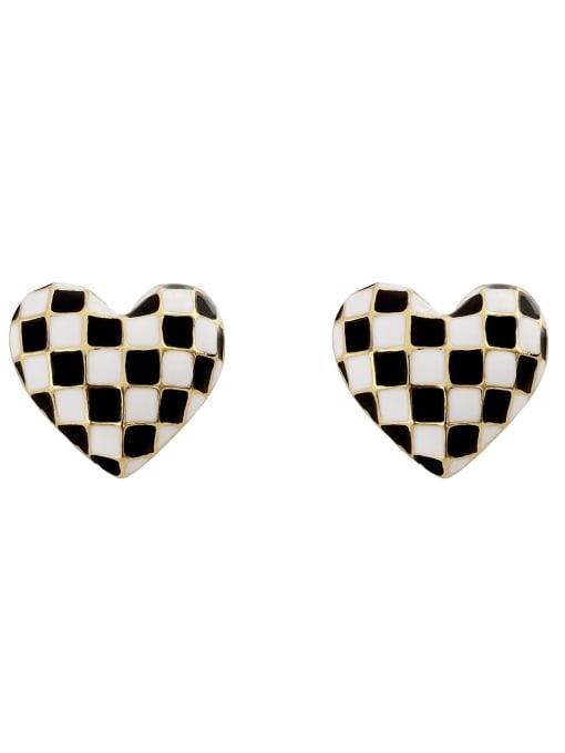 HYACINTH Brass Enamel Heart Vintage Stud Earring