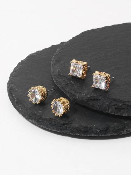 TINGS Brass Cubic Zirconia Geometric Minimalist Stud Earring 0